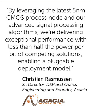 By leveraging the latest 5nm CMOS process node and our advanced signal processing algorithms, we're delivering exceptional performance with less than half the power per bit of competing solutions, enabling a pluggable deployment model.