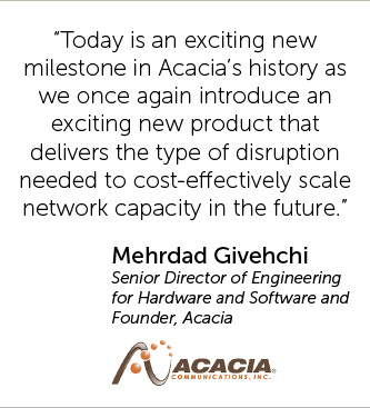 Today is an exciting new milestone in Acacia's history as we once again introduce an exciting new product that delivers the type of disruption needed to cost-effectively scale network capacity in the future